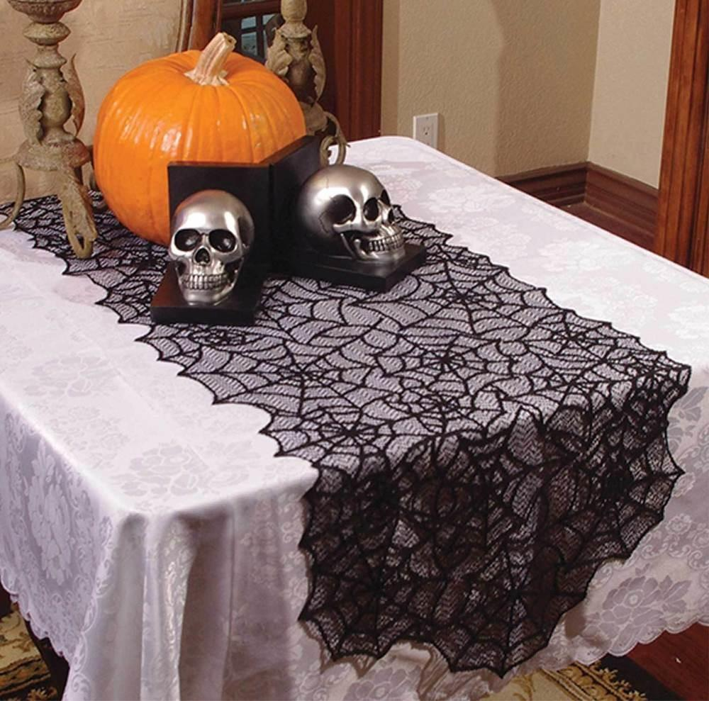 Haunted House Gothic Black Lace Spider Web Table Runner