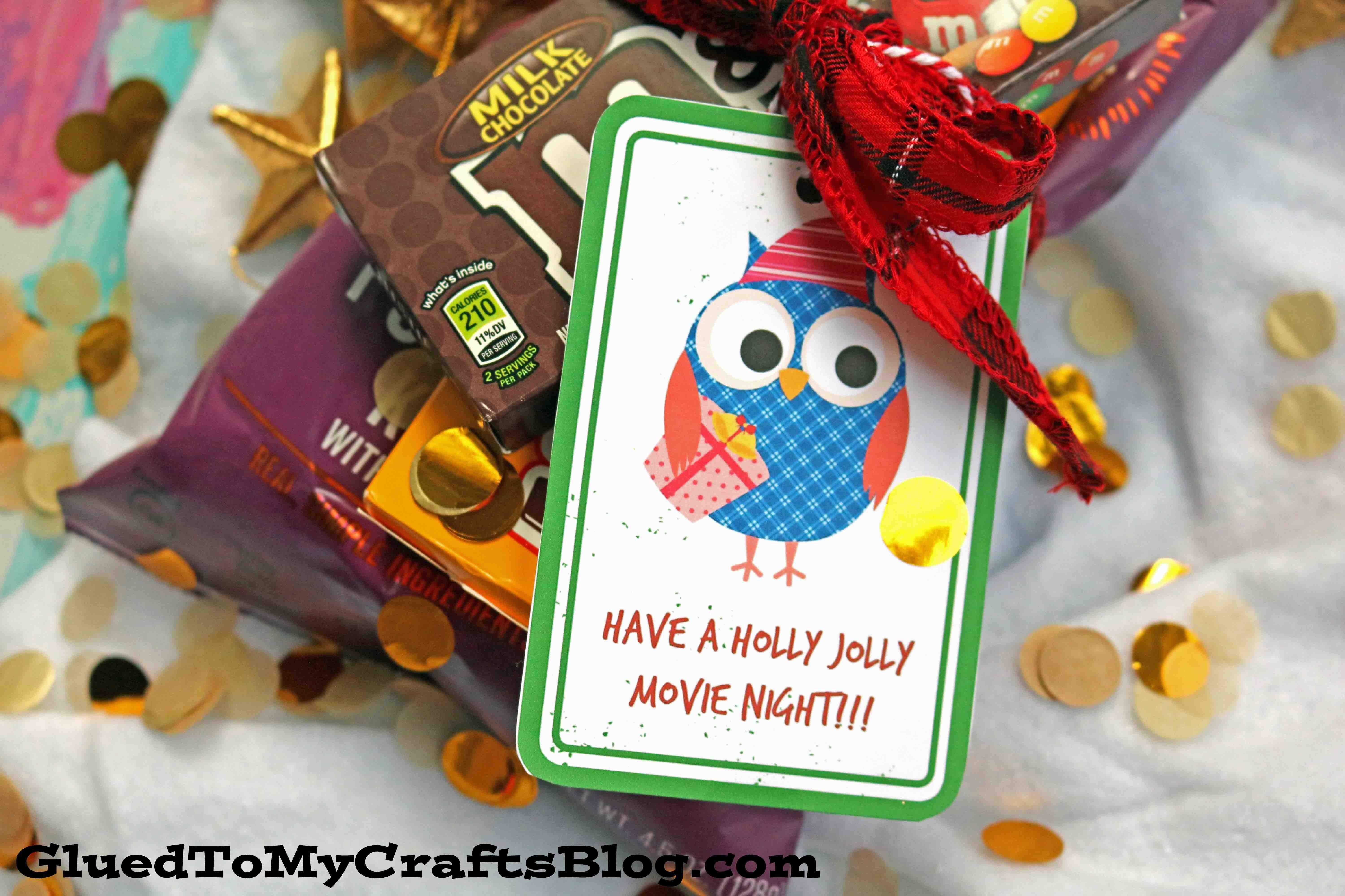 Have Holly Jolly Movie Night Gift Tag Printable