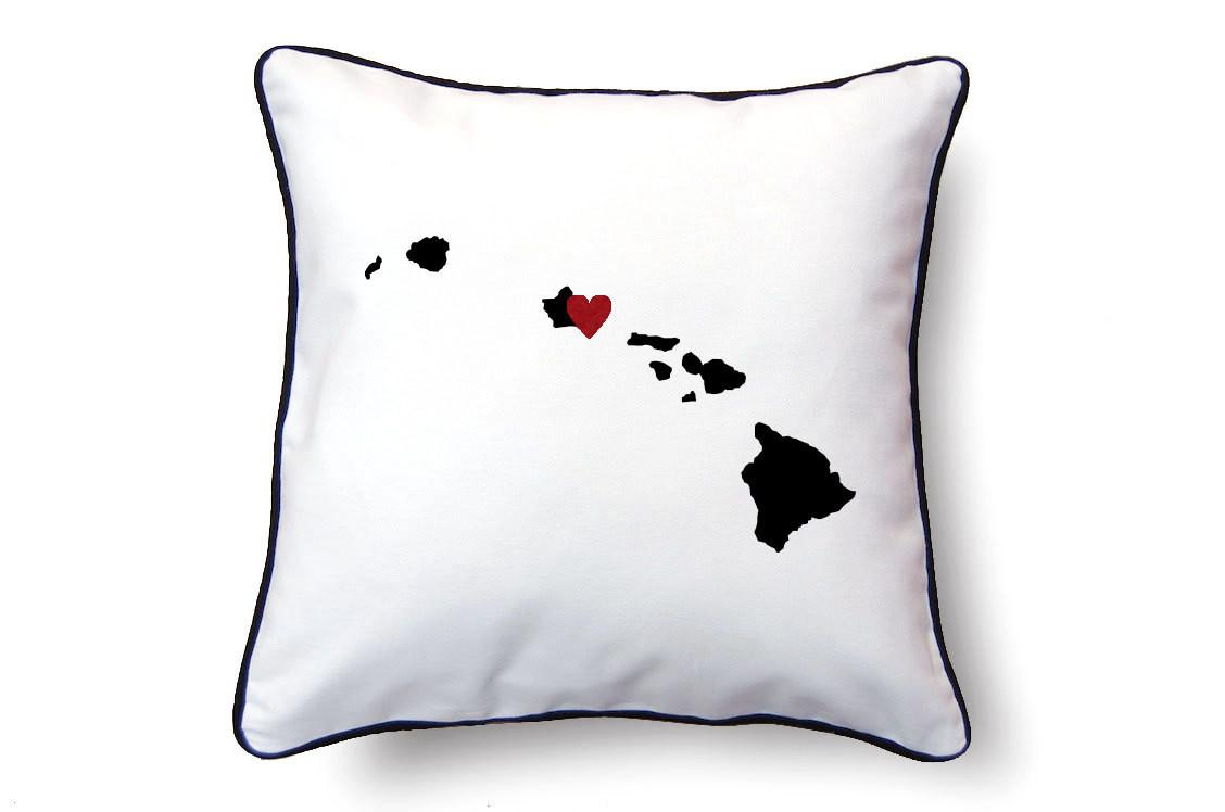 Hawaii Pillow Map Personalized Name Text
