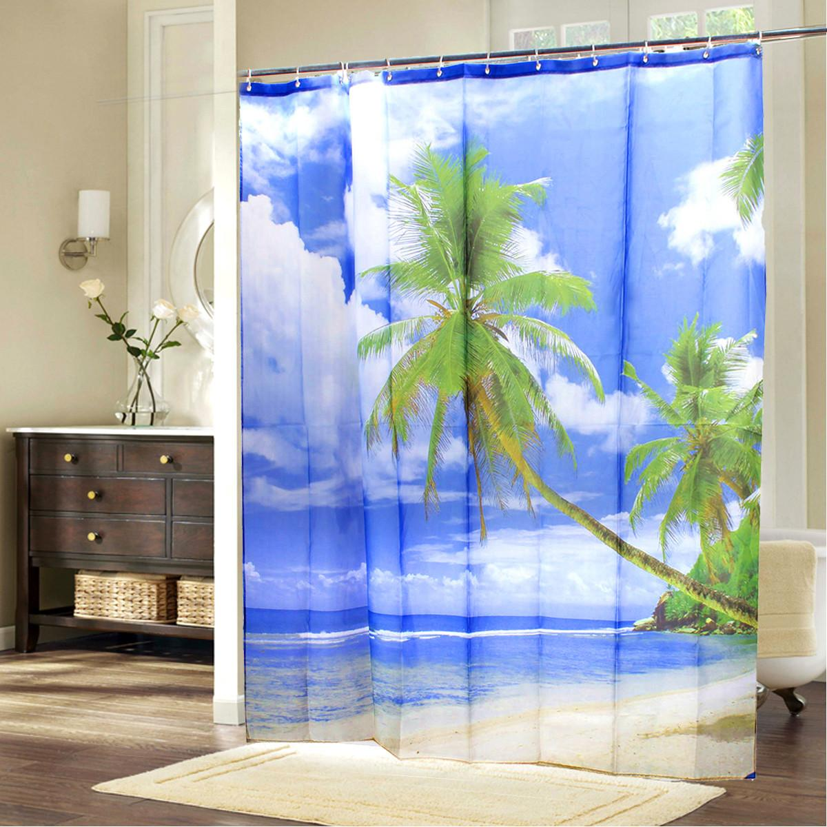 Hawaii Tropical Palm Tree Summer Beach Polyester Shower