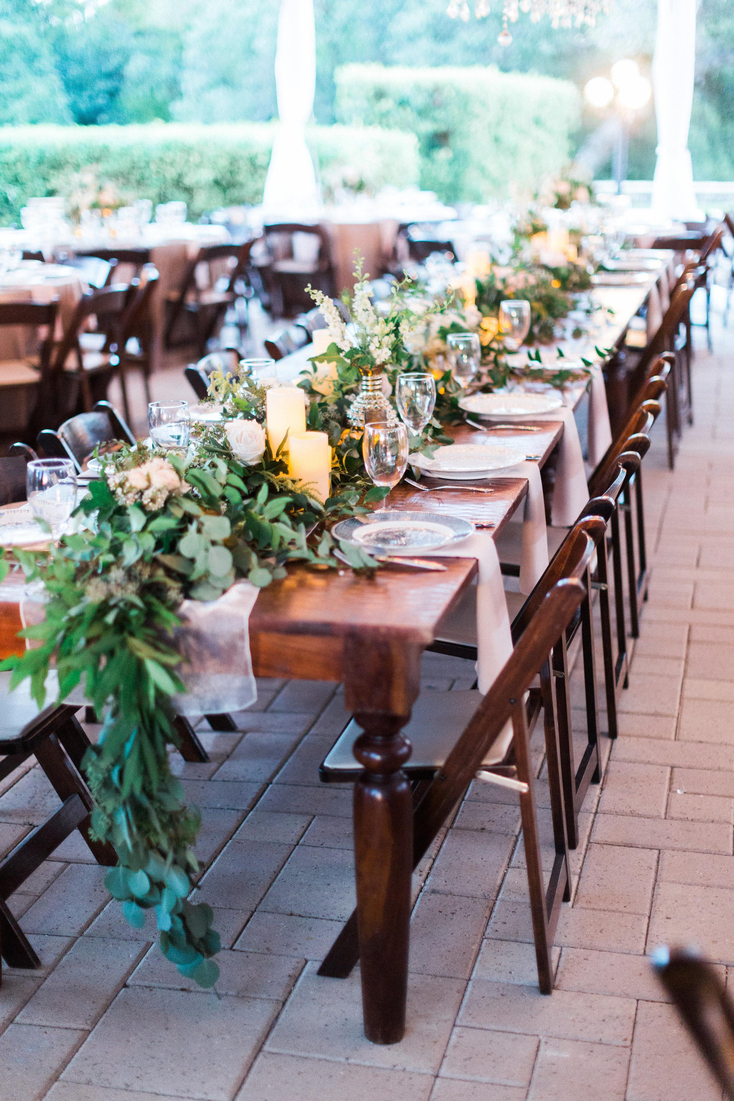Head Table Foliage Garland Candles Floral Accents