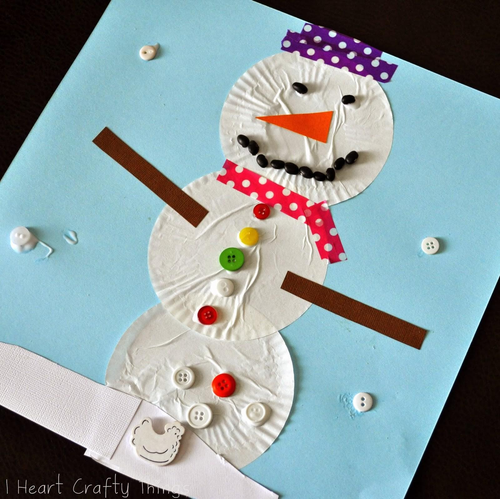 Heart Crafty Things Cupcake Liner Snowman Craft