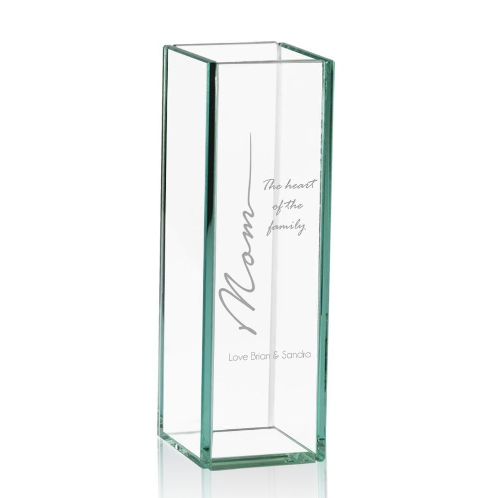Heart Family Personalized Tall Glass Vase Mom