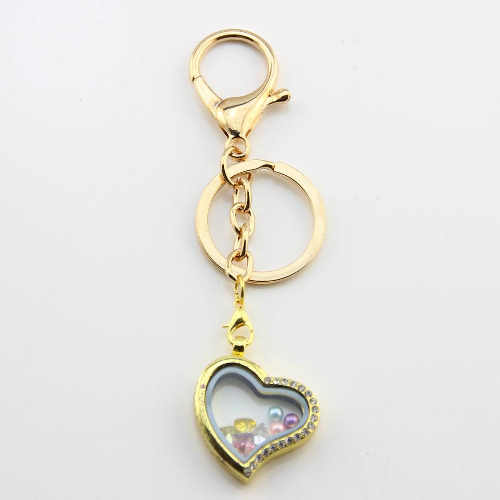 Heart Keychain Ring Diy Alloy Magnetic Glass Living