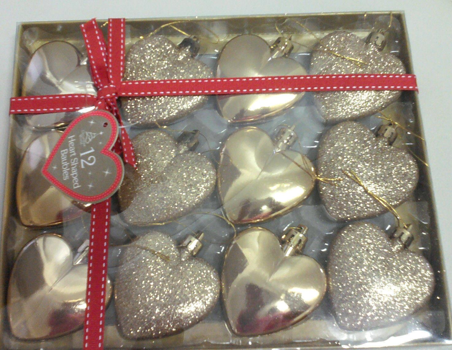 Heart Shaped Glitter Christmas Tree Baubles Ornaments