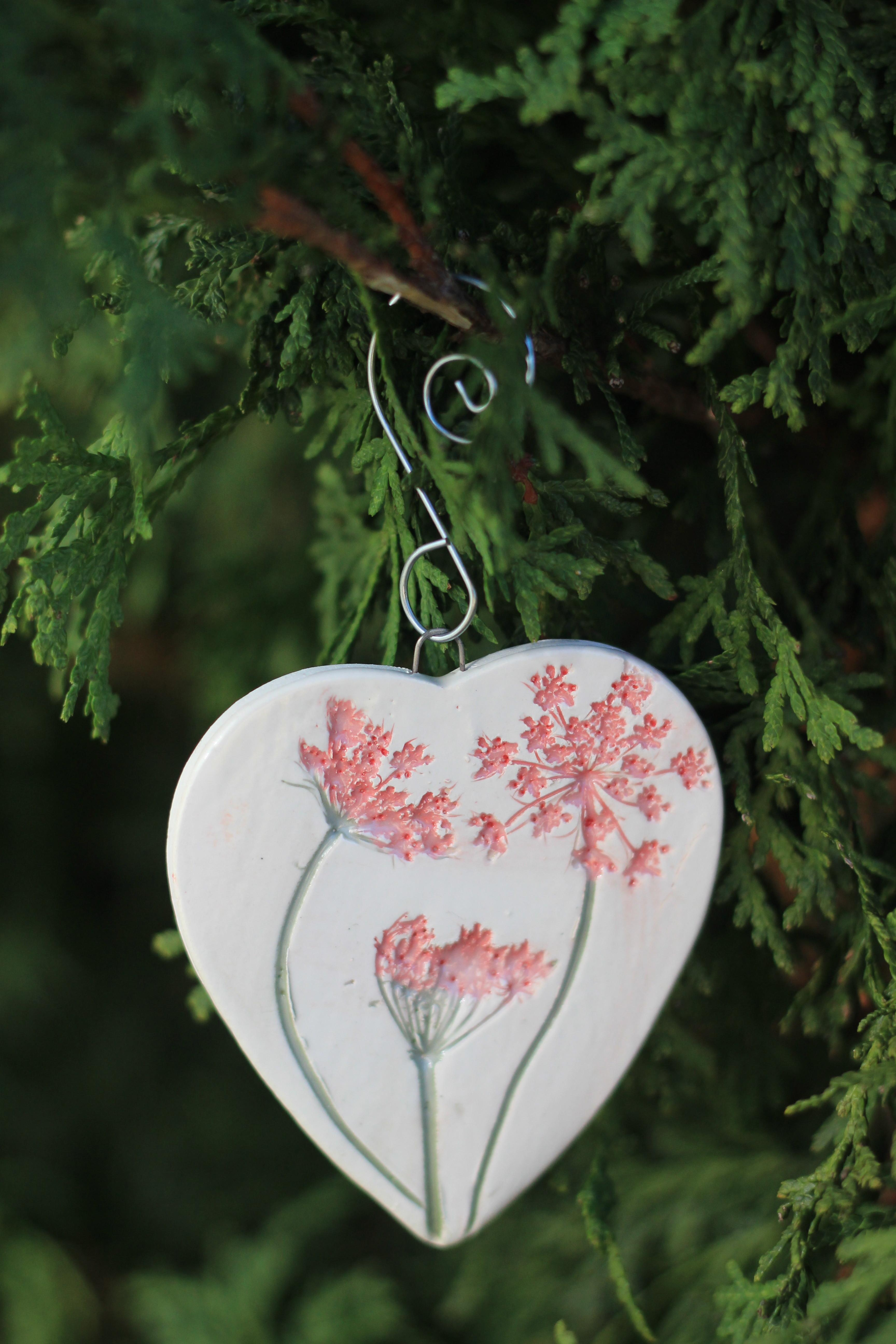 Heart Shaped Pink Queen Anne Lace Ornament