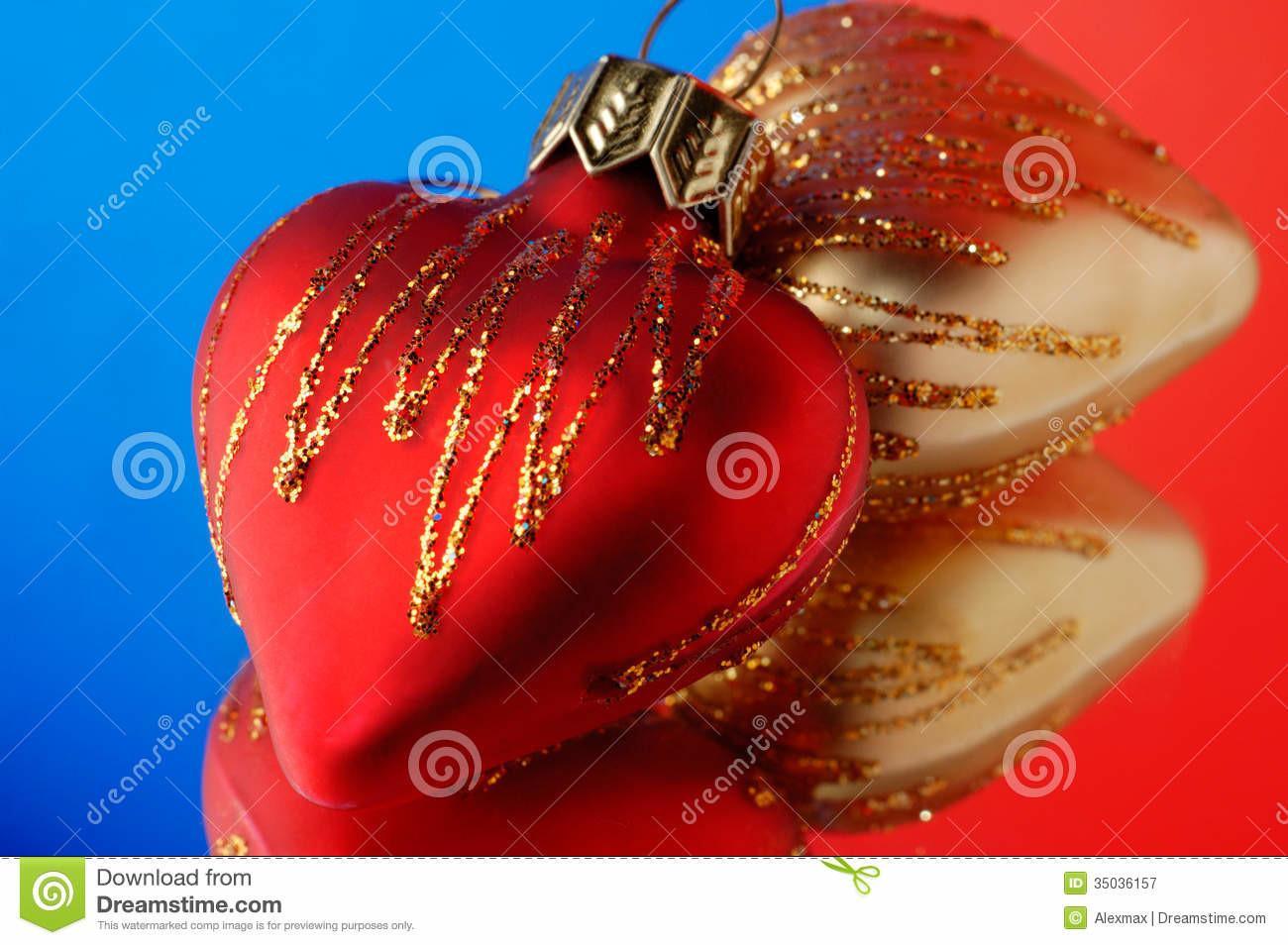 Hearts Christmas Ornament Royalty Stock Photography