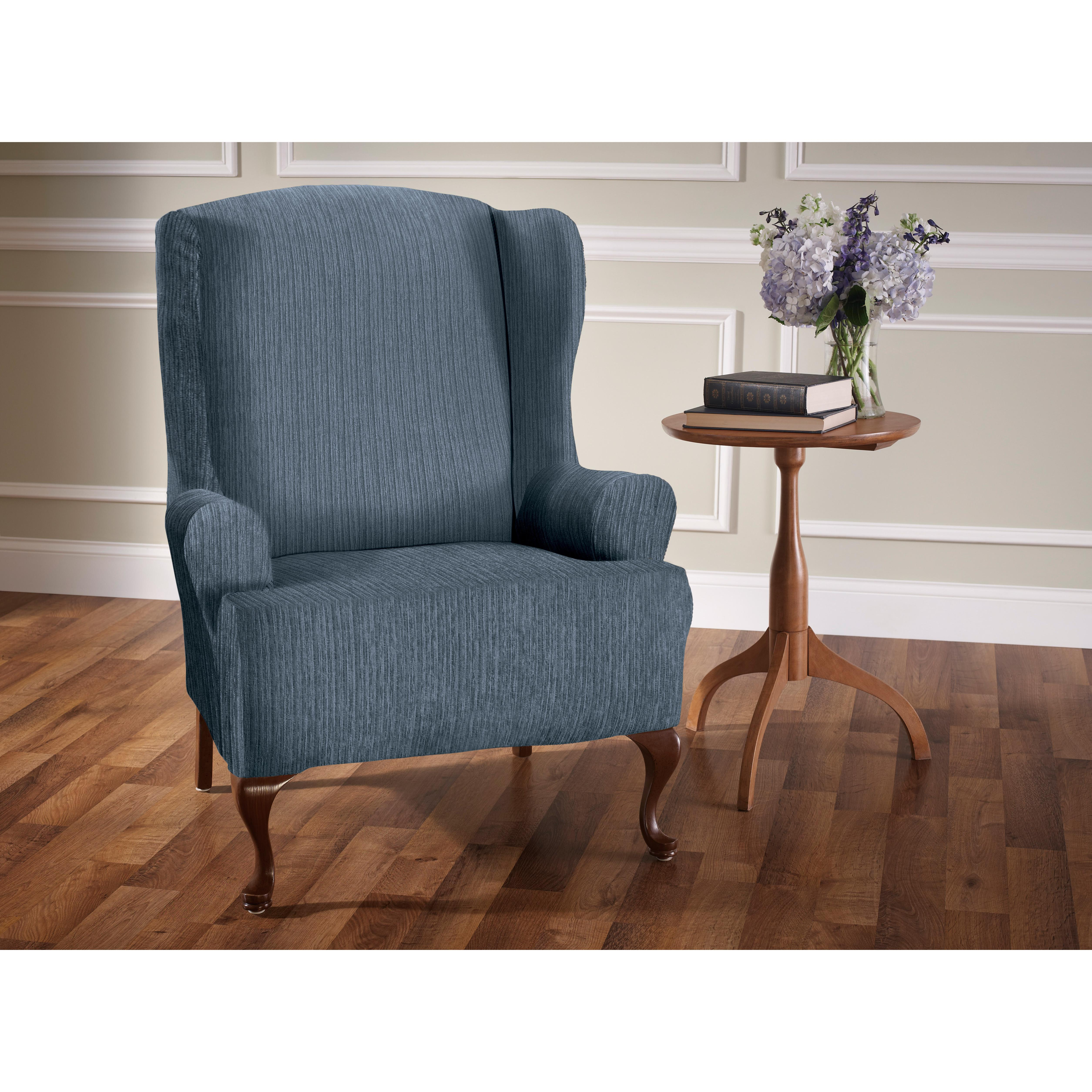 Heather Stripe Stretch Wing Chair Slipcover