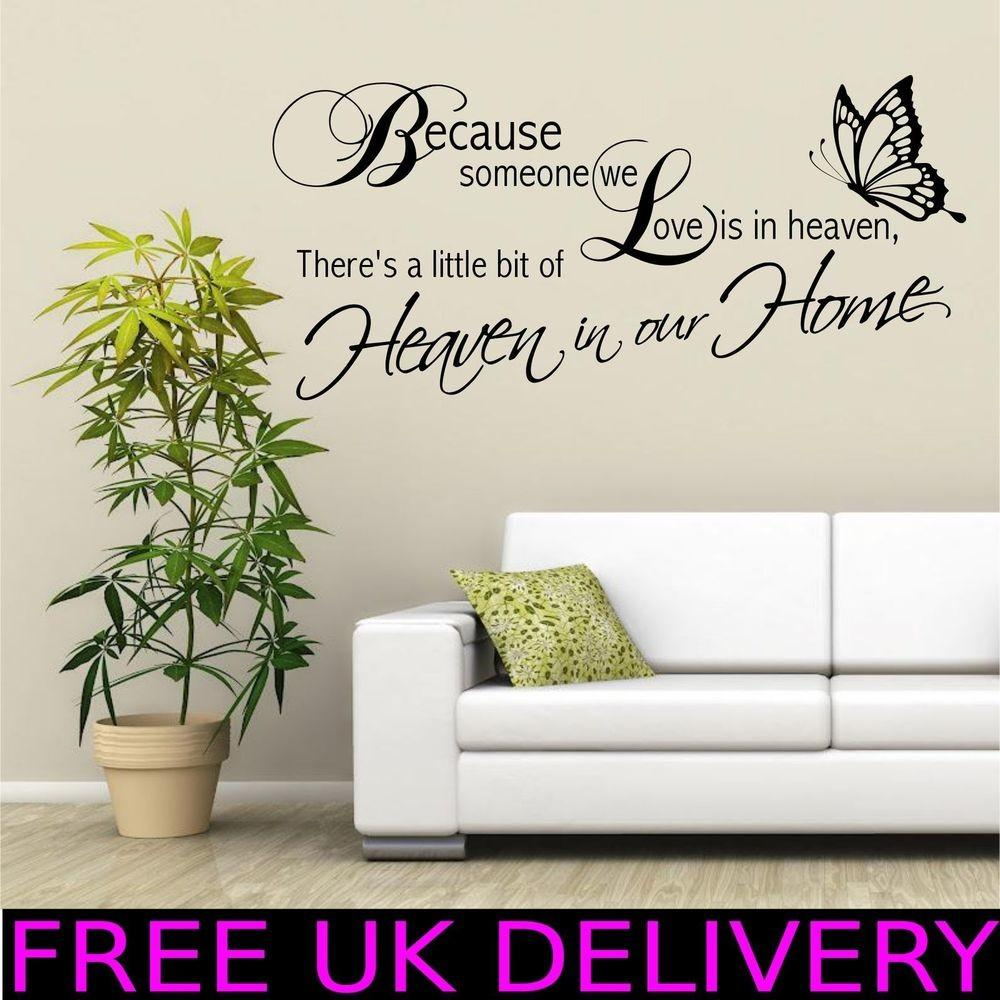 Heaven Home Family Wall Quotes Art Stickers Decal
