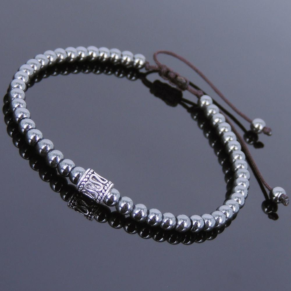 Hematite Sterling Silver Adjustable Braided Bracelet Mens