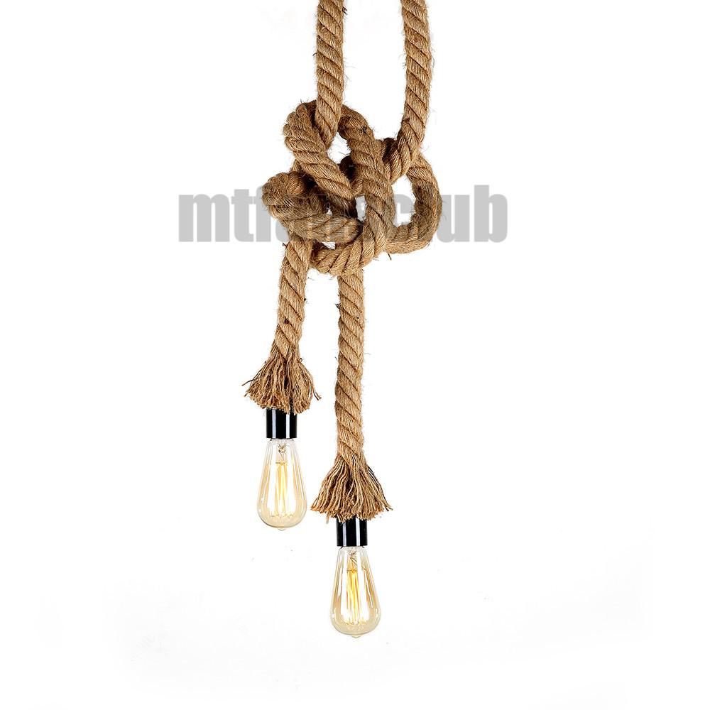 Hemp Rope Diy Vintage Chandelier Pendant Light Industrial