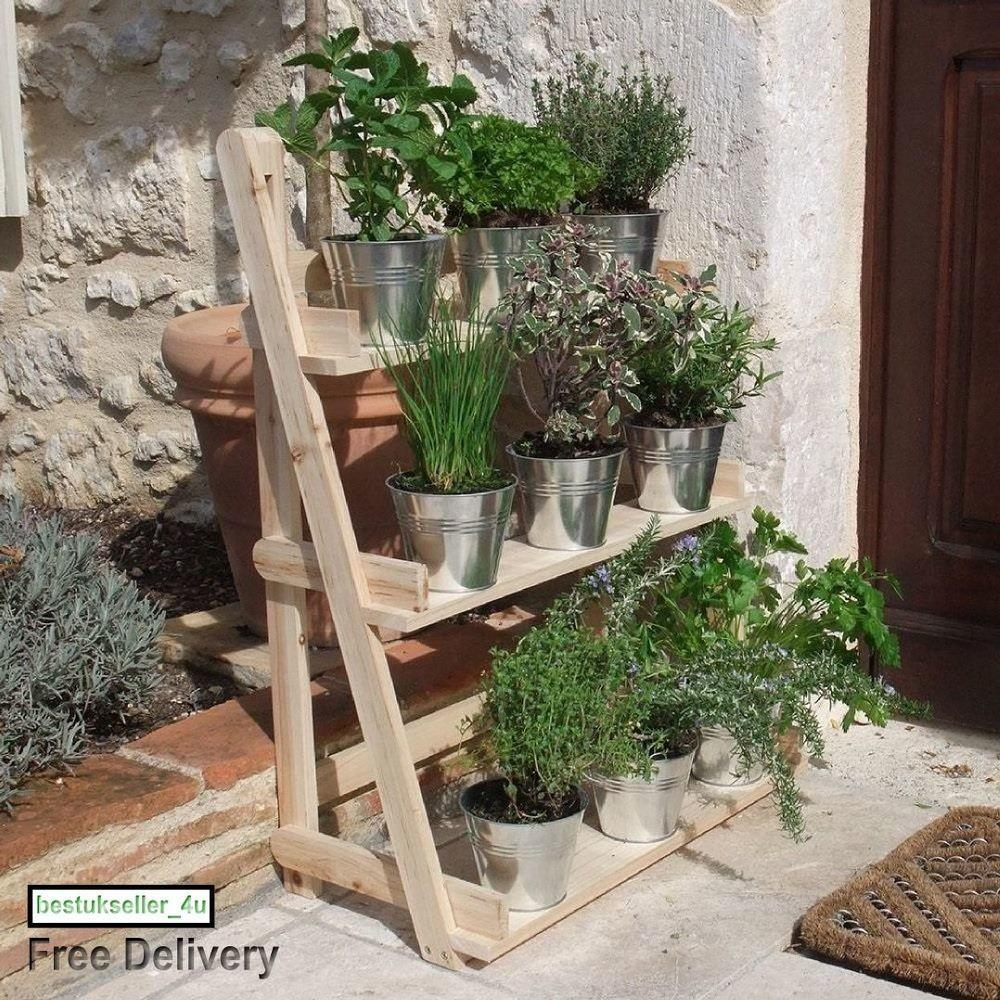 Herb Plant Standing Hanging Planter Natural Wood Tier