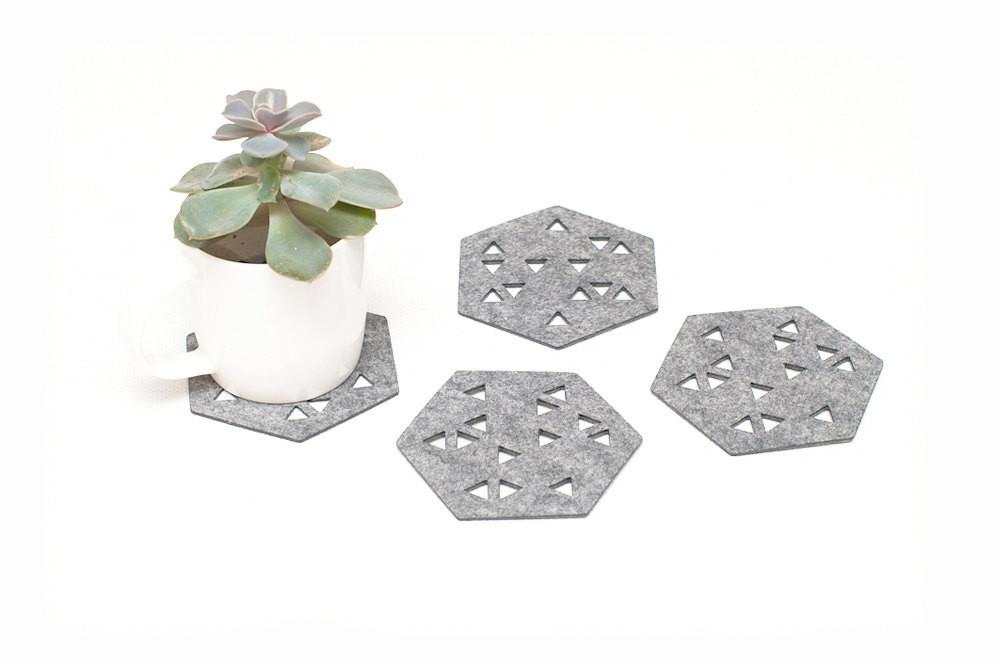 Hexagon Coasters Felt Set