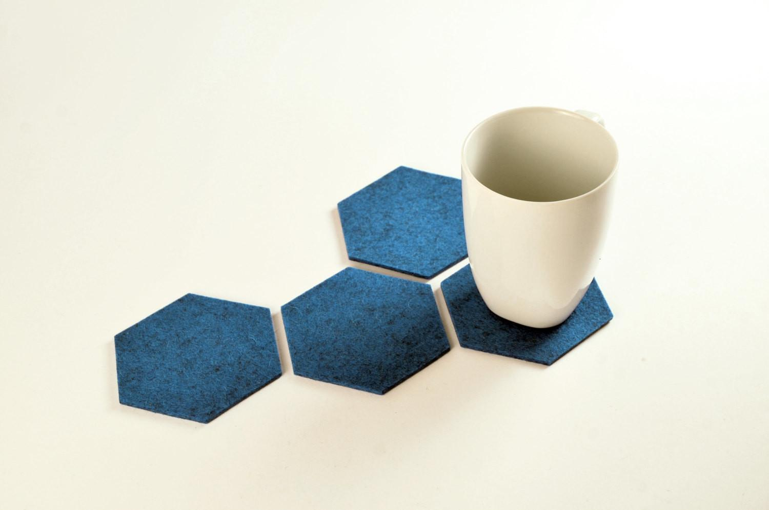 Hexagon Coasters Handmade Merino Wool Design Felt