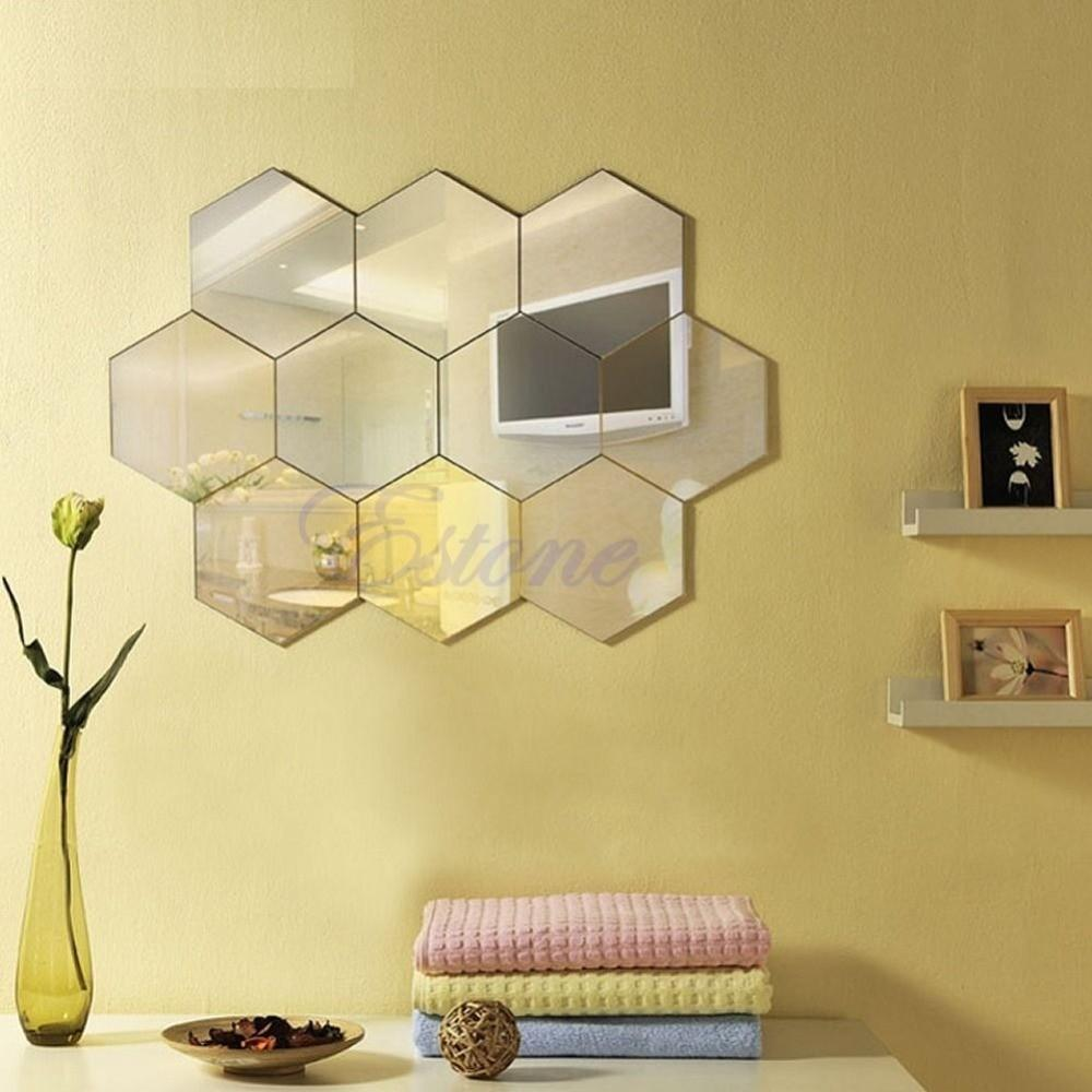 Hexagon Mirror Style Silver Removable Decal Vinyl Art Wall