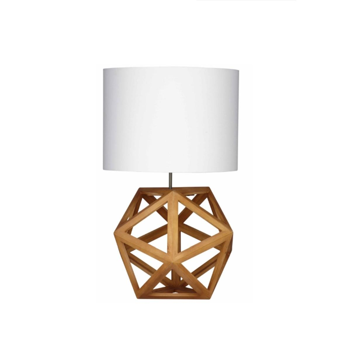 Hexagon Table Lamp Natural Timber White Shade