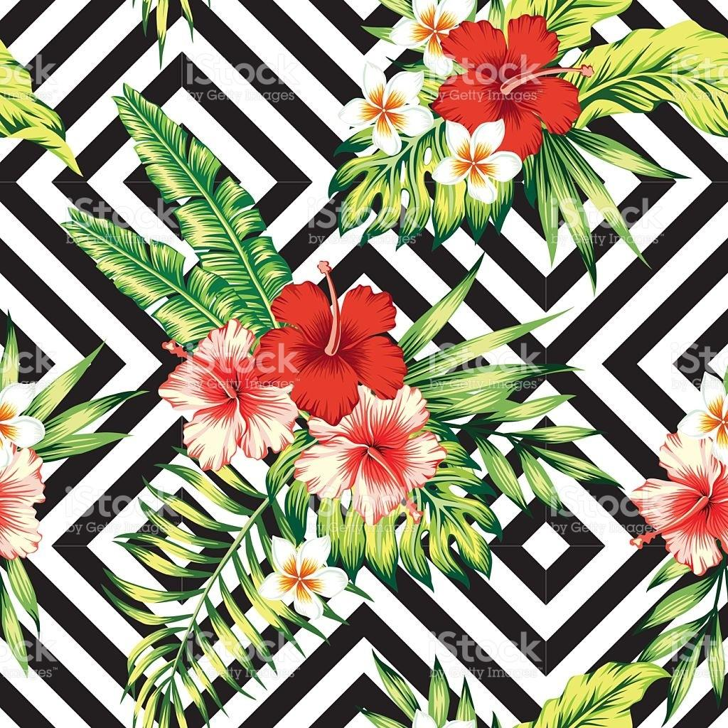 Hibiscus Palm Leaves Tropical Pattern Black White