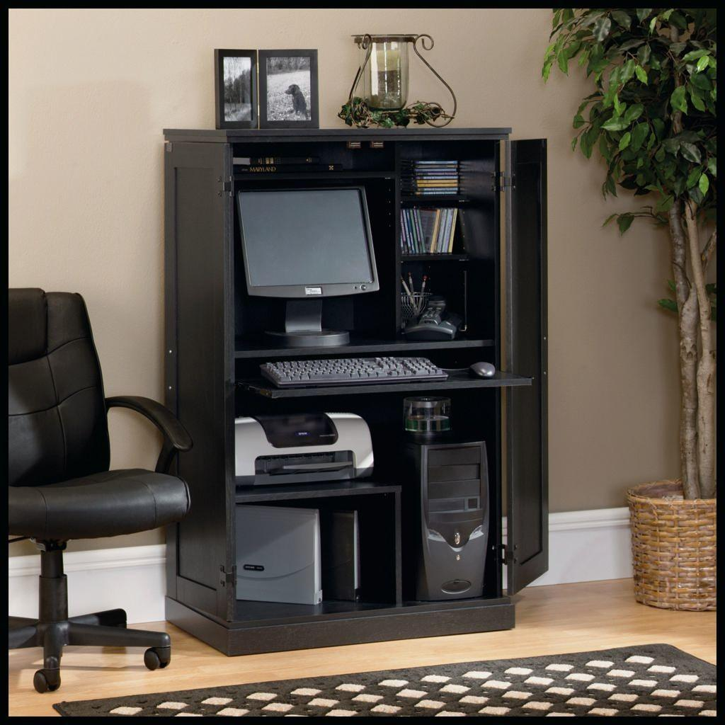Hideaway Computer Desk Workstation Whitevan