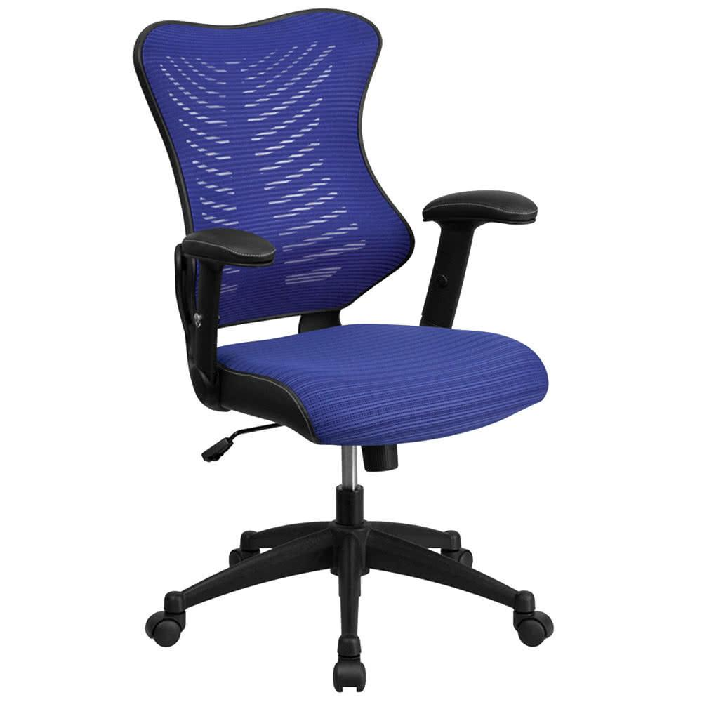 High Back Blue Mesh Executive Office Chair Padded