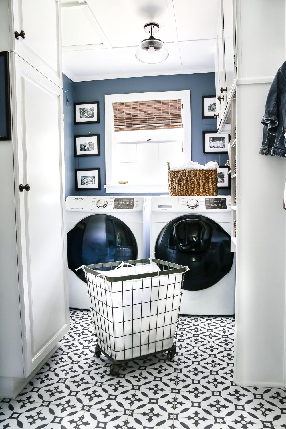 High Contrast Laundry Room Makeover Reveal Bless House