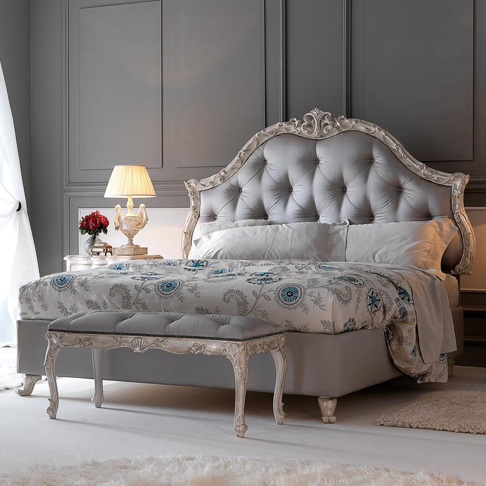 High End Carved Button Upholstered Italian Storage Bed