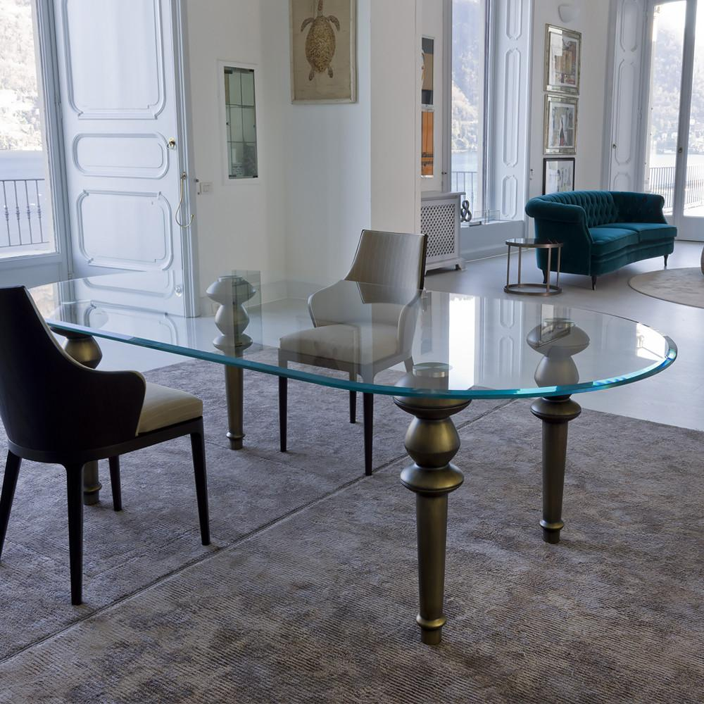 High End Italian Oval Glass Dining Table