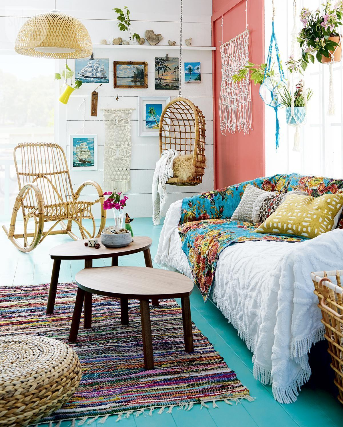 High Low Colourful Boho Chic Cottage Sitting Room Style
