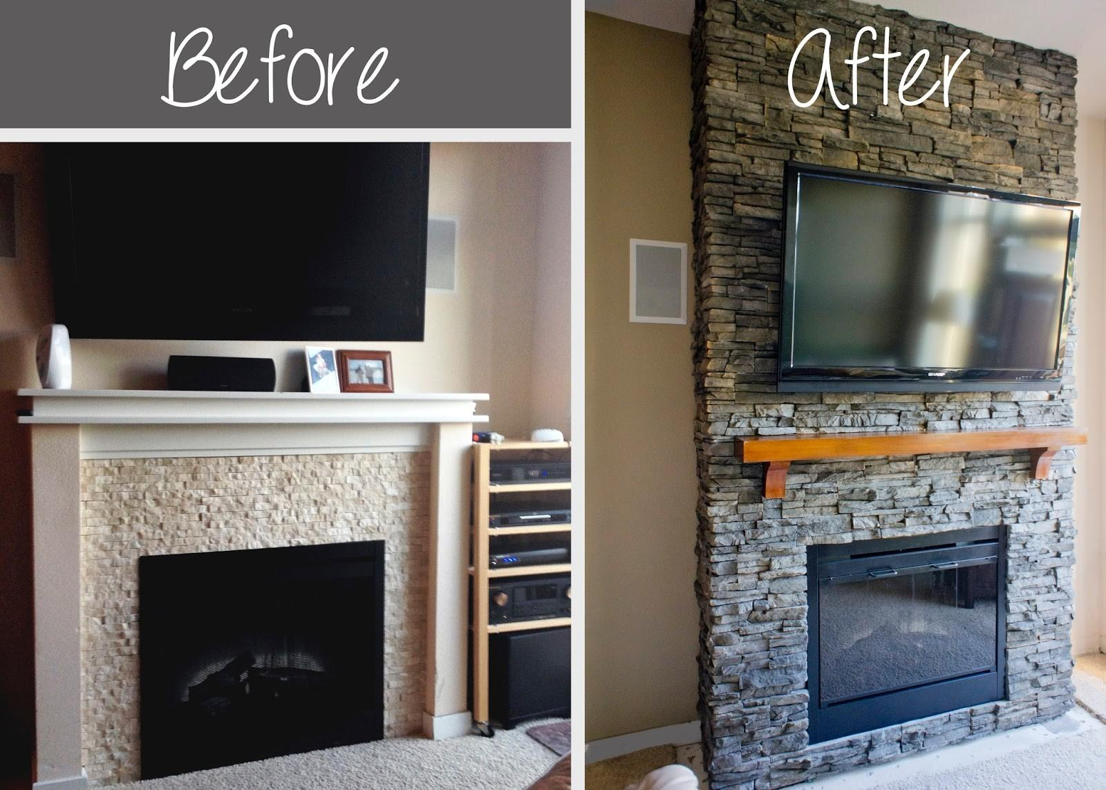 Hirondelle Rustique Diy Stacked Stone Fireplace First