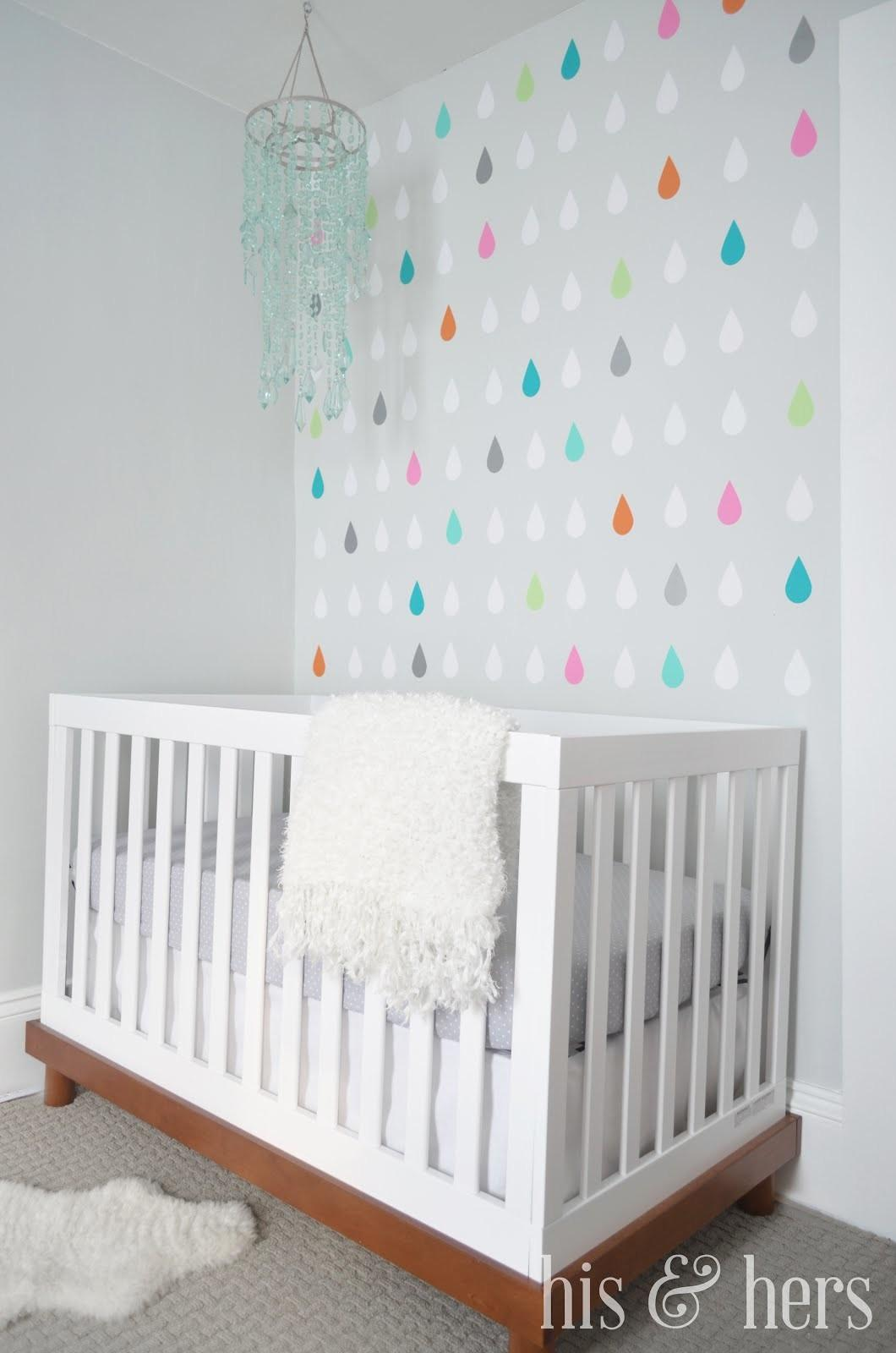 His Hers Diy Colorful Raindrop Decals Nursery Accent