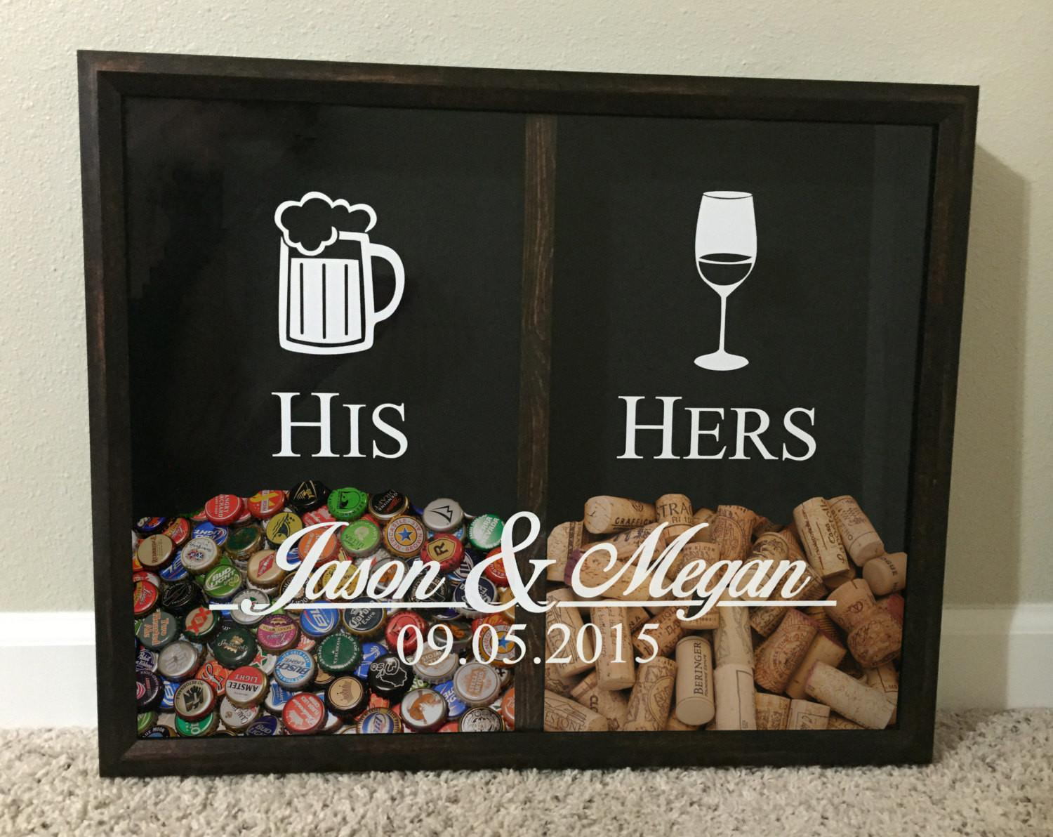 His Hers Mrs Wine Cork Beer Cap Tab Holder
