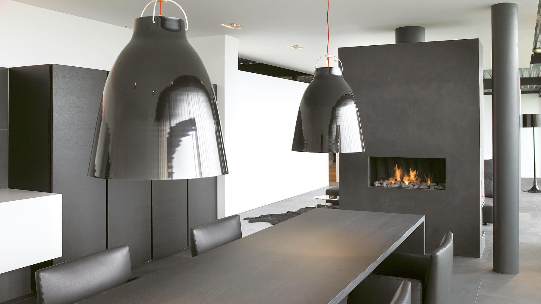Hole Wall Fireplace Contemporary