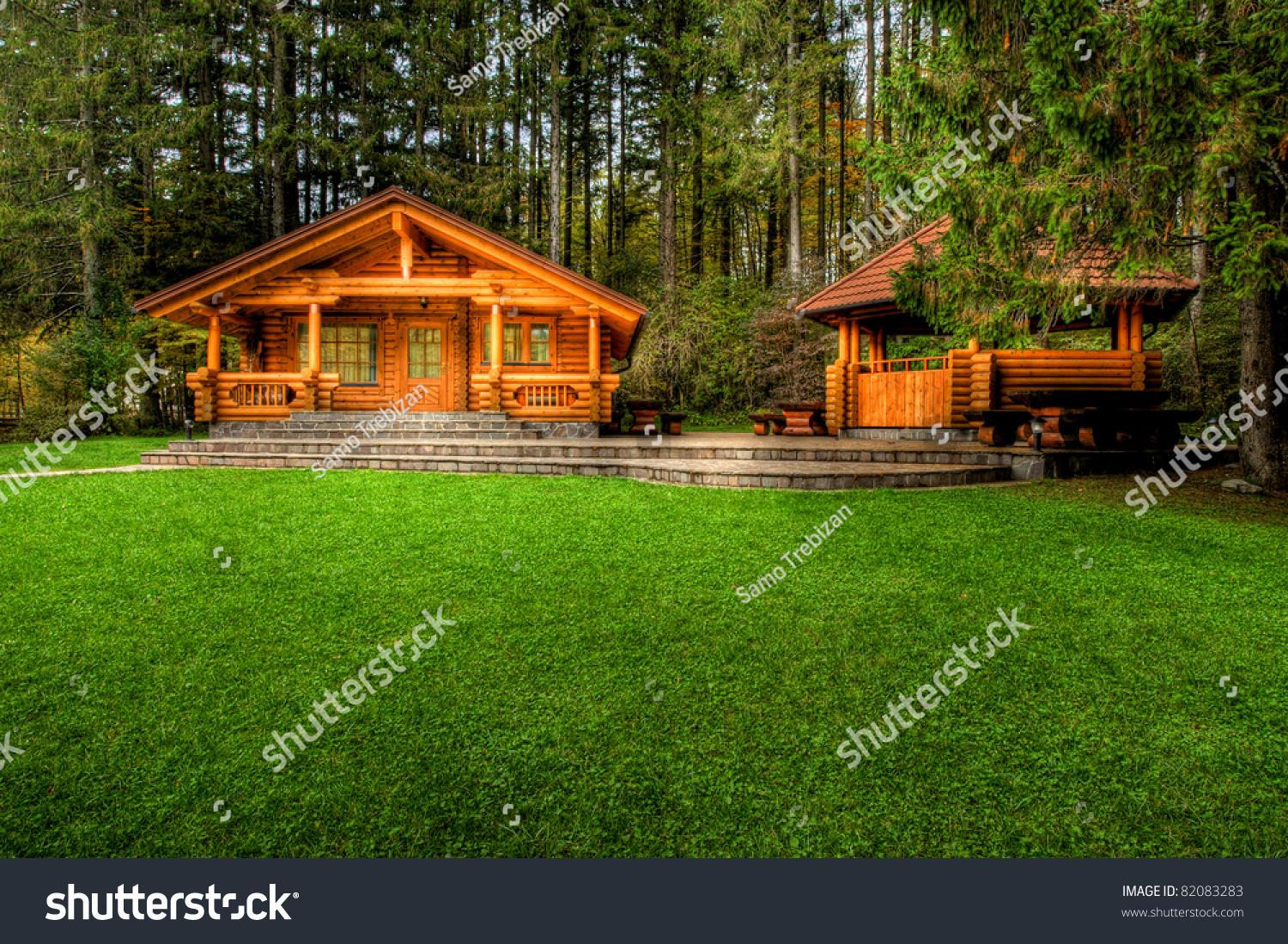 Holiday Apartment Wooden Cottage Forest Stock