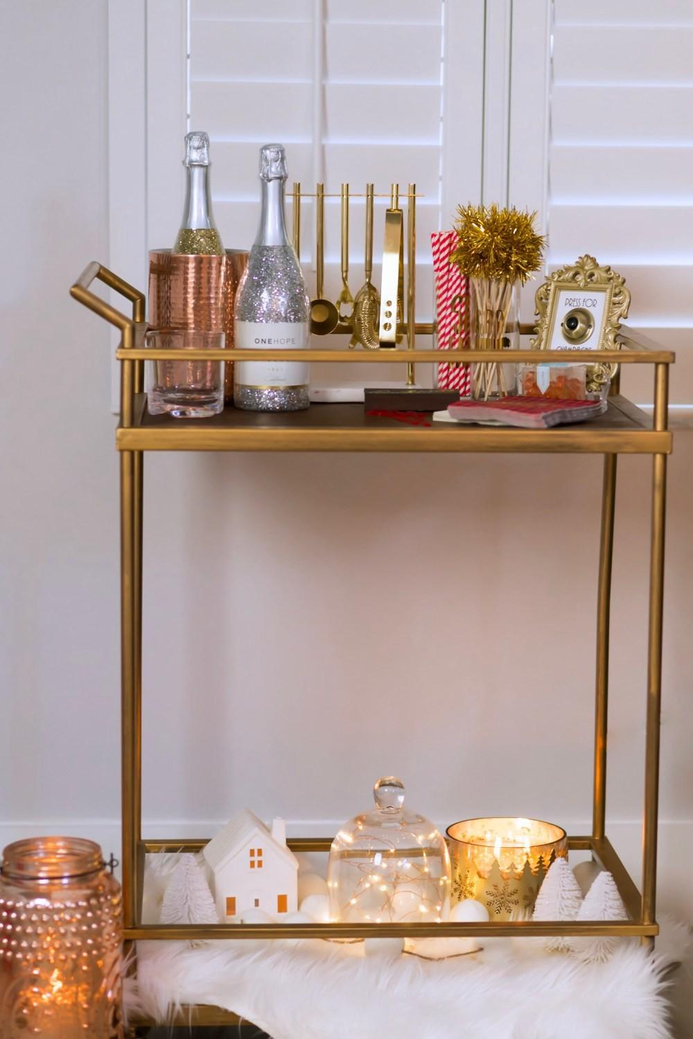 Holiday Bar Cart Decor Drinks Fancy Things