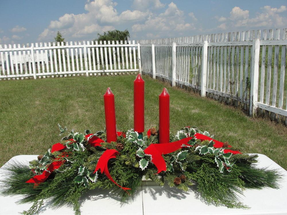 Holiday Christmas Candle Centerpiece Pine Holly Berry Red