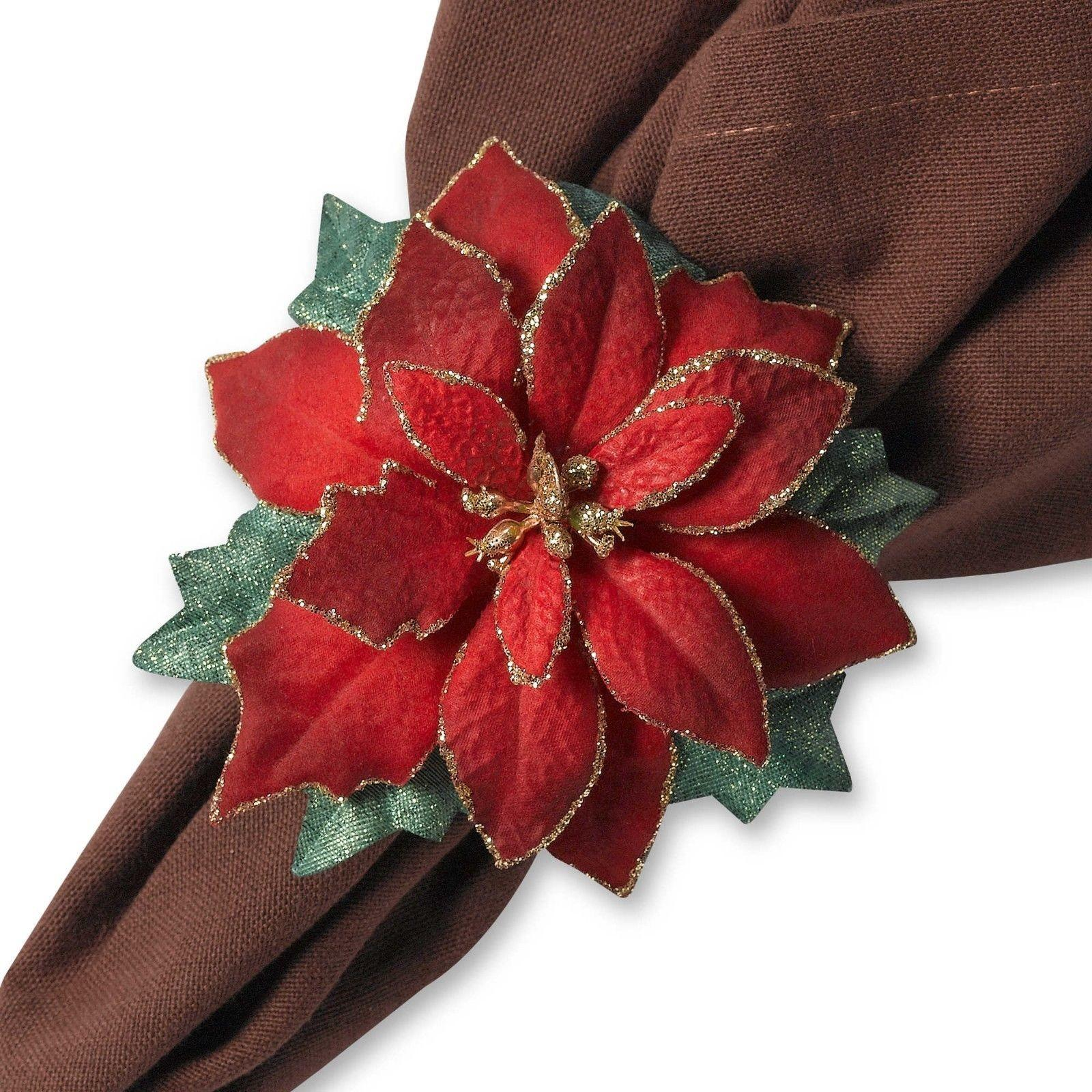 Holiday Christmas Home Red Green Gold Poinsettia Table