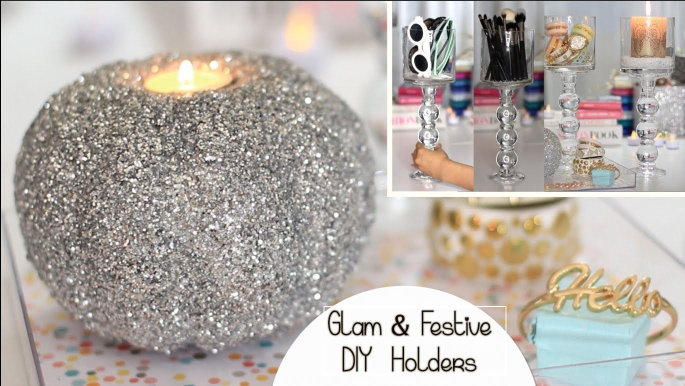 Holiday Diy Decor Chic Holder Glitter Pumpkin Candle
