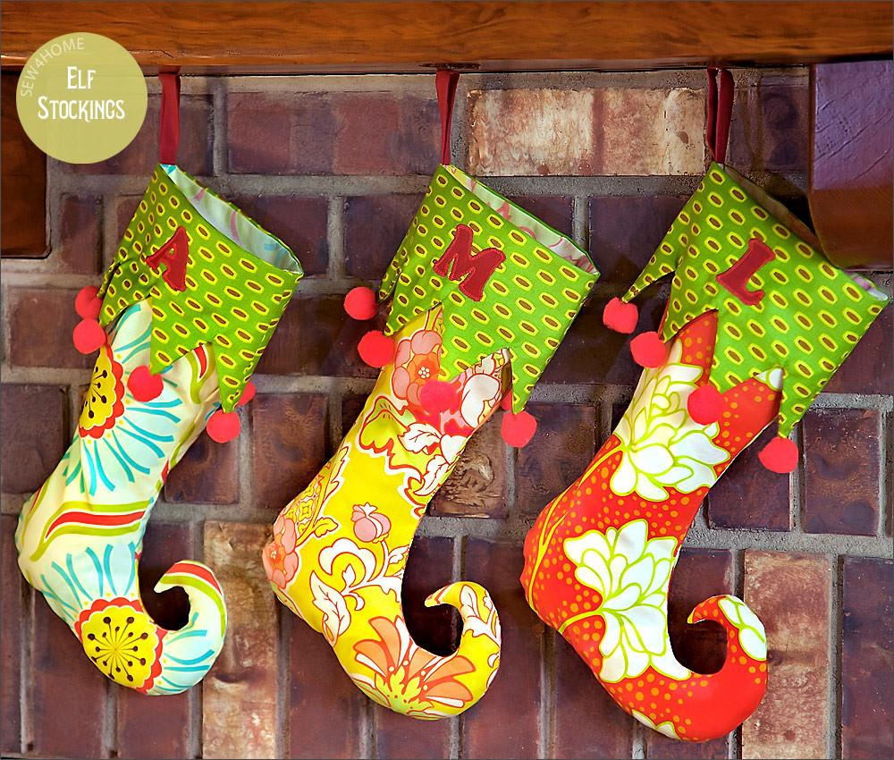 Holiday Elf Stockings Curlicue Toes Sew4home