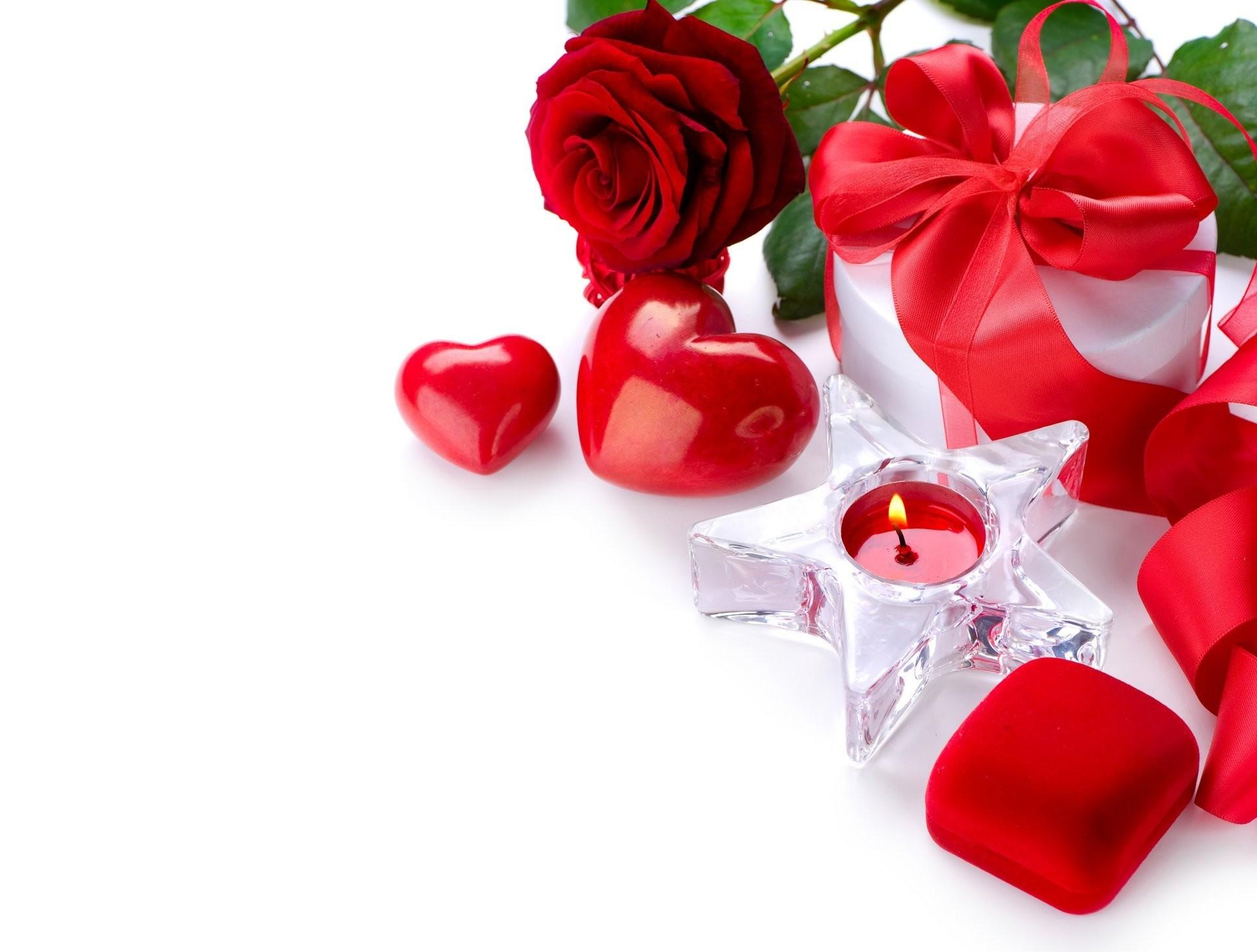 Holiday Valentine Day Candles Roses Gifts Heart Bow