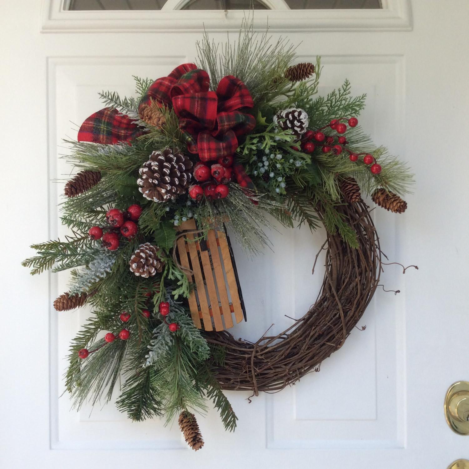 Holiday Wreath Winter Christmas Wooden Sleigh