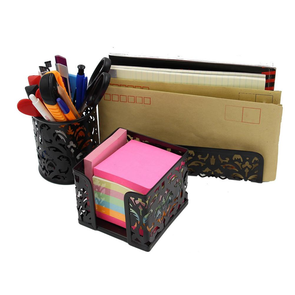 Hollow Stationery Box Metal Pen Pencil Holder Office