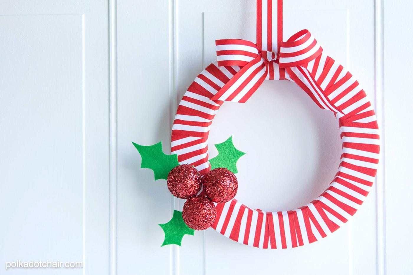 Holly Berry Diy Ribbon Christmas Wreath Polka Dot Chair