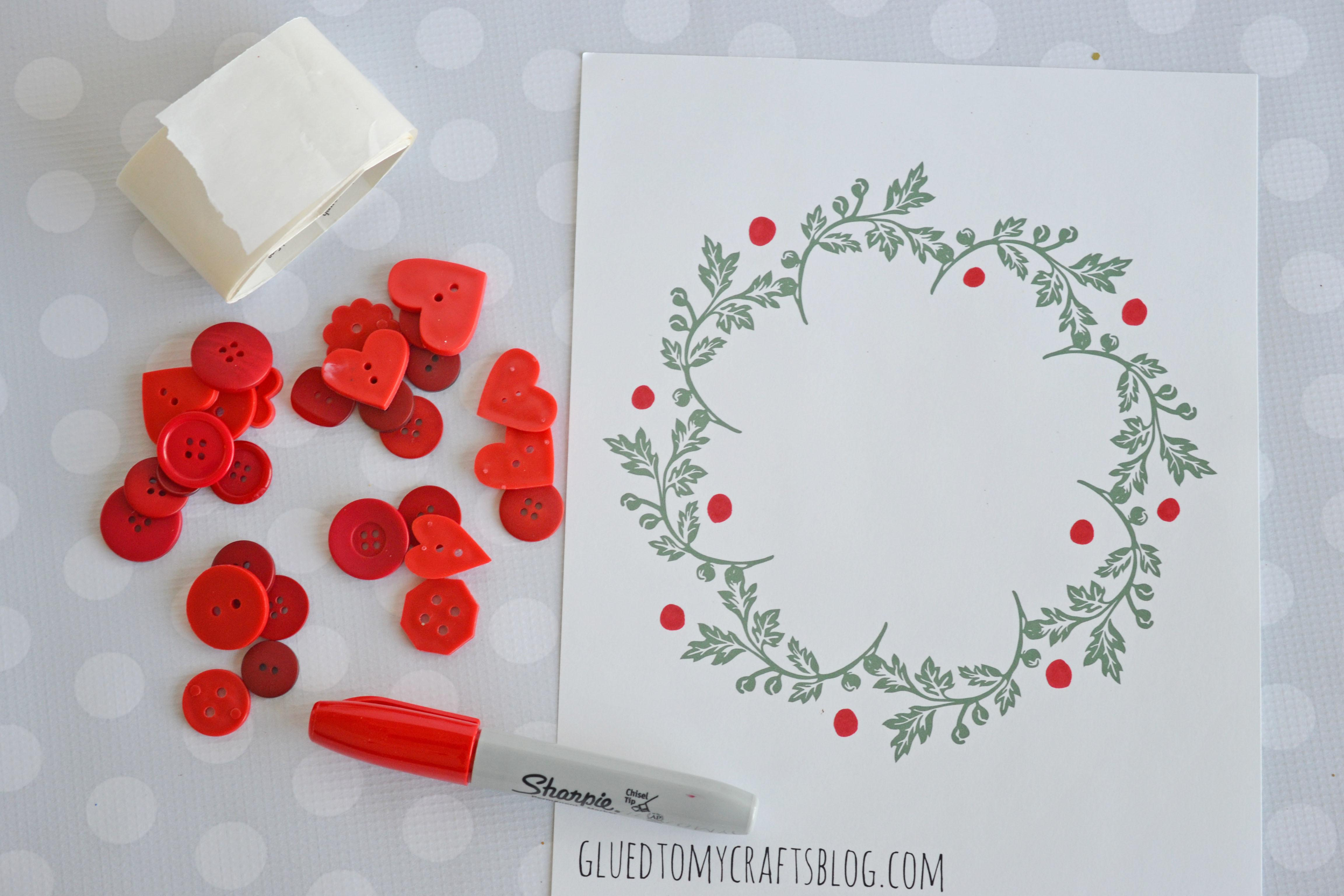 Holly Wreath Kid Craft Printable Glued Crafts