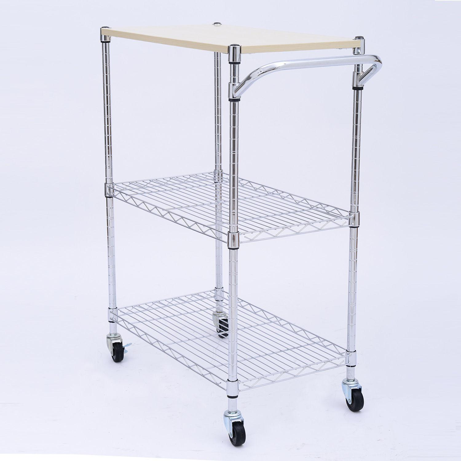 Homcom Portable Rolling Wire Shelf Kitchen Storage