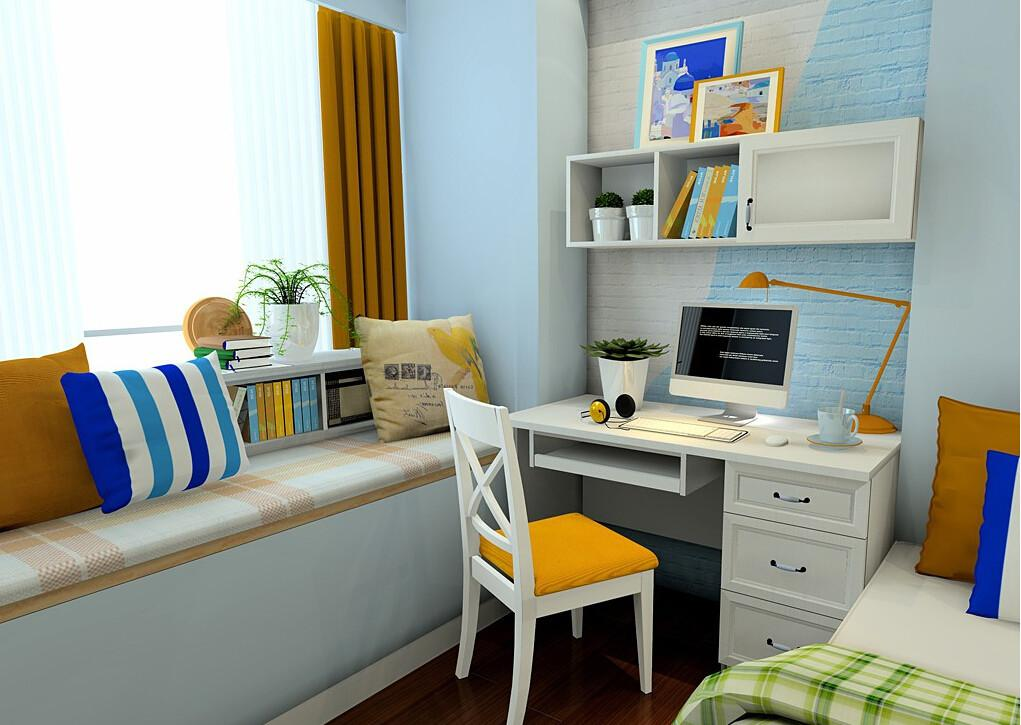 Home Bedroom Computer Desk Windowsill Rendering