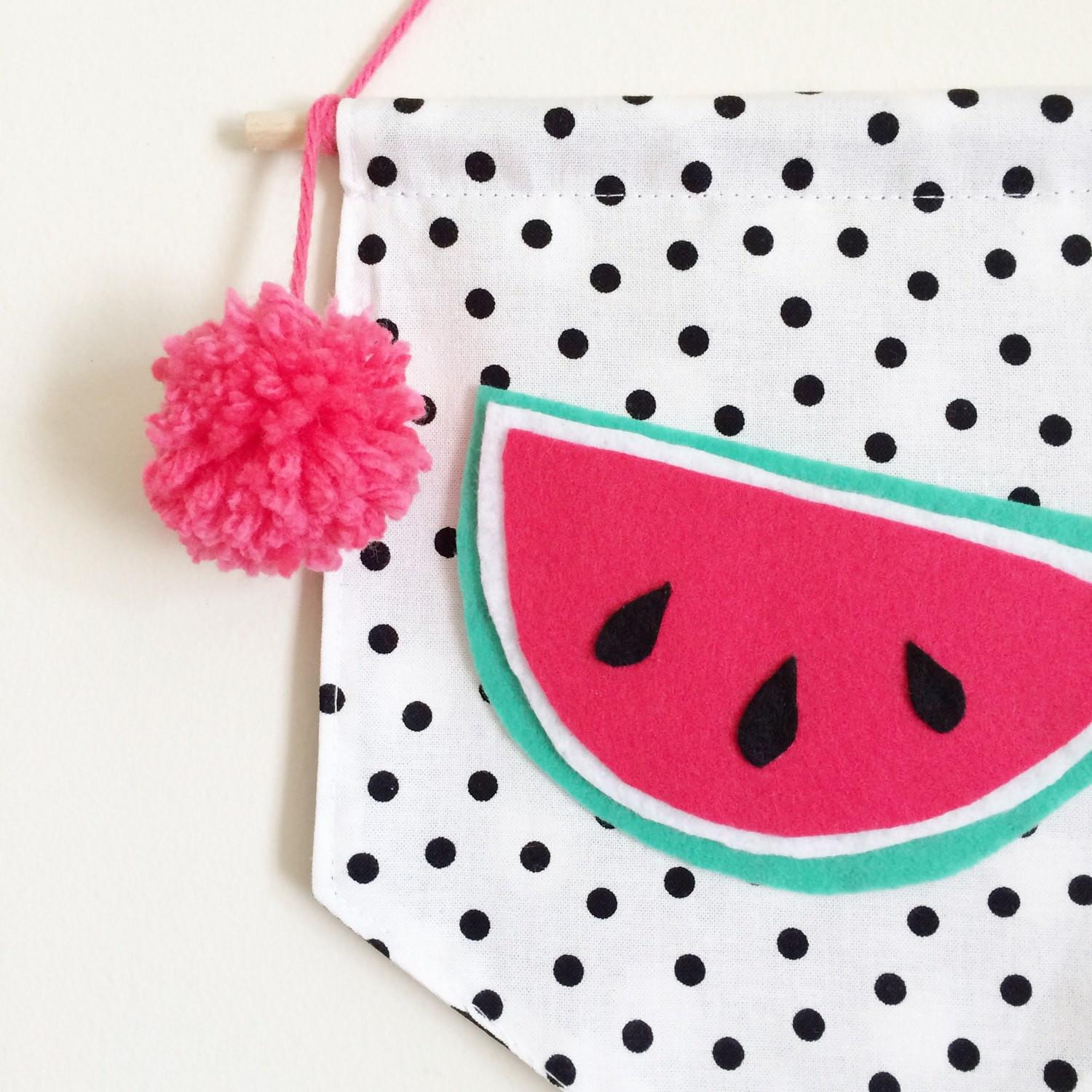 Home Decor Juicy Watermelon Black White Dots