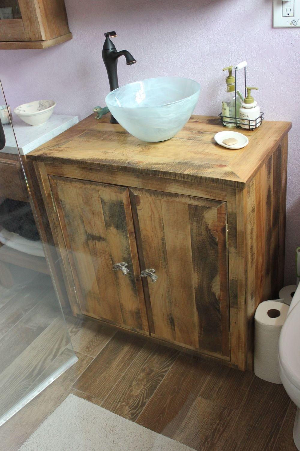 Home Decor Reclaimed Wood Bathroom Vanity Feature