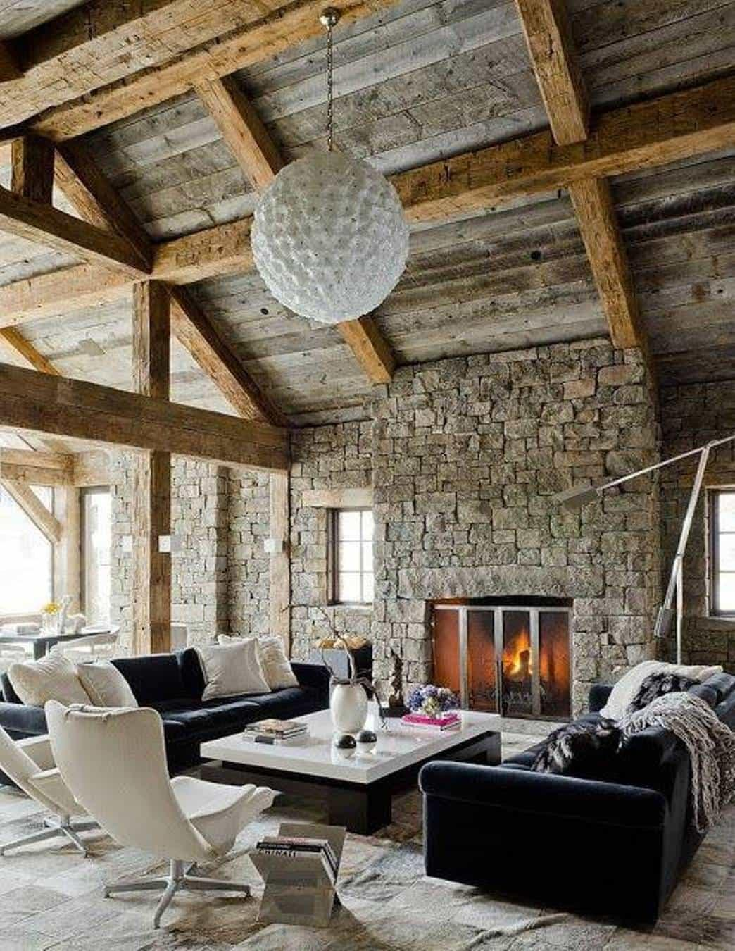 Home Design Exposed Wooden Ceiling Beams Above Stone