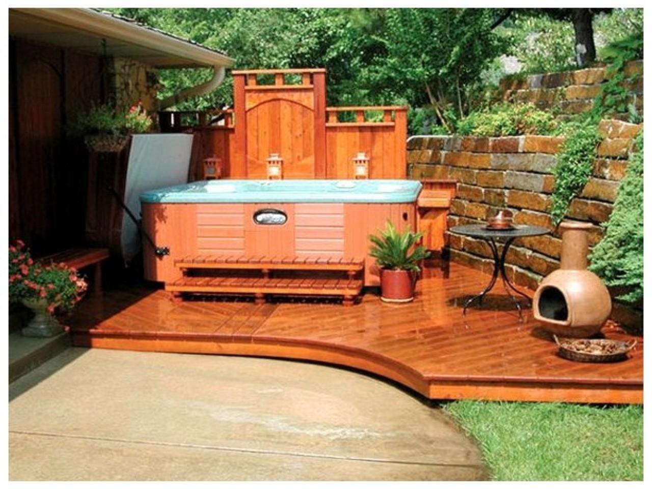 Home Design Ideas Cool Backyard Hot Tub Designs