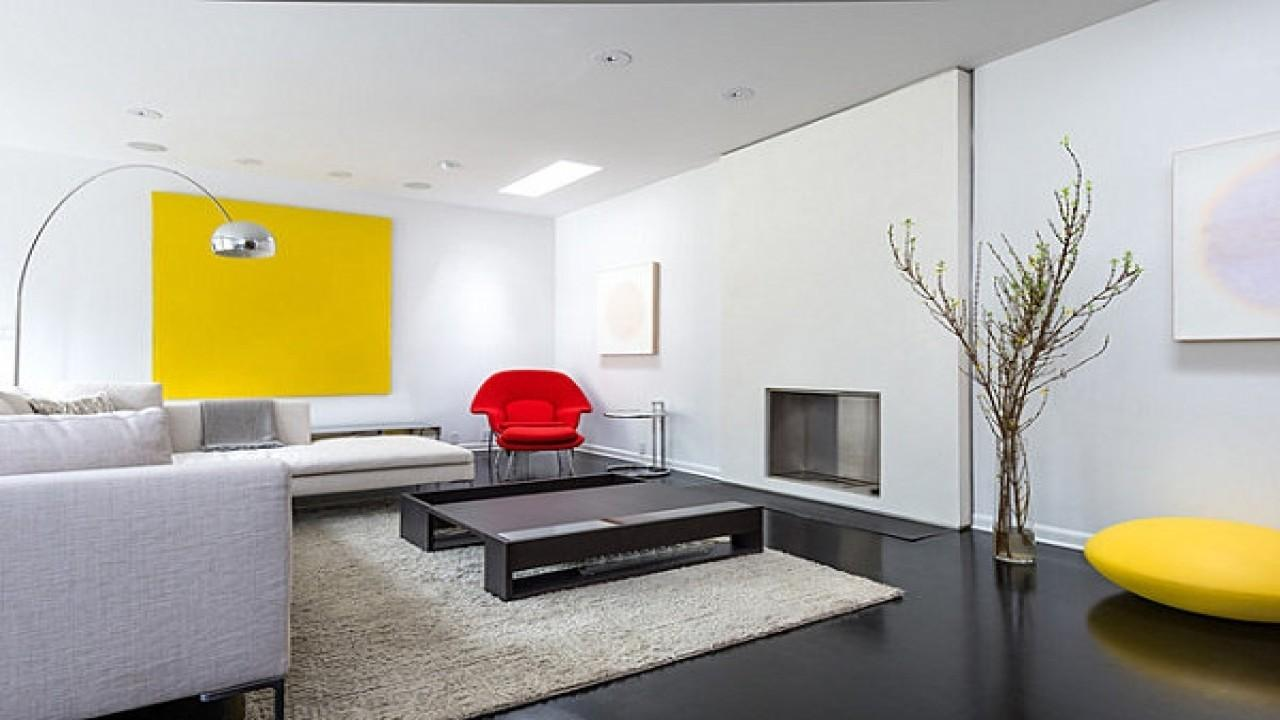 Home Design Living Room Office Combination Red Yellow