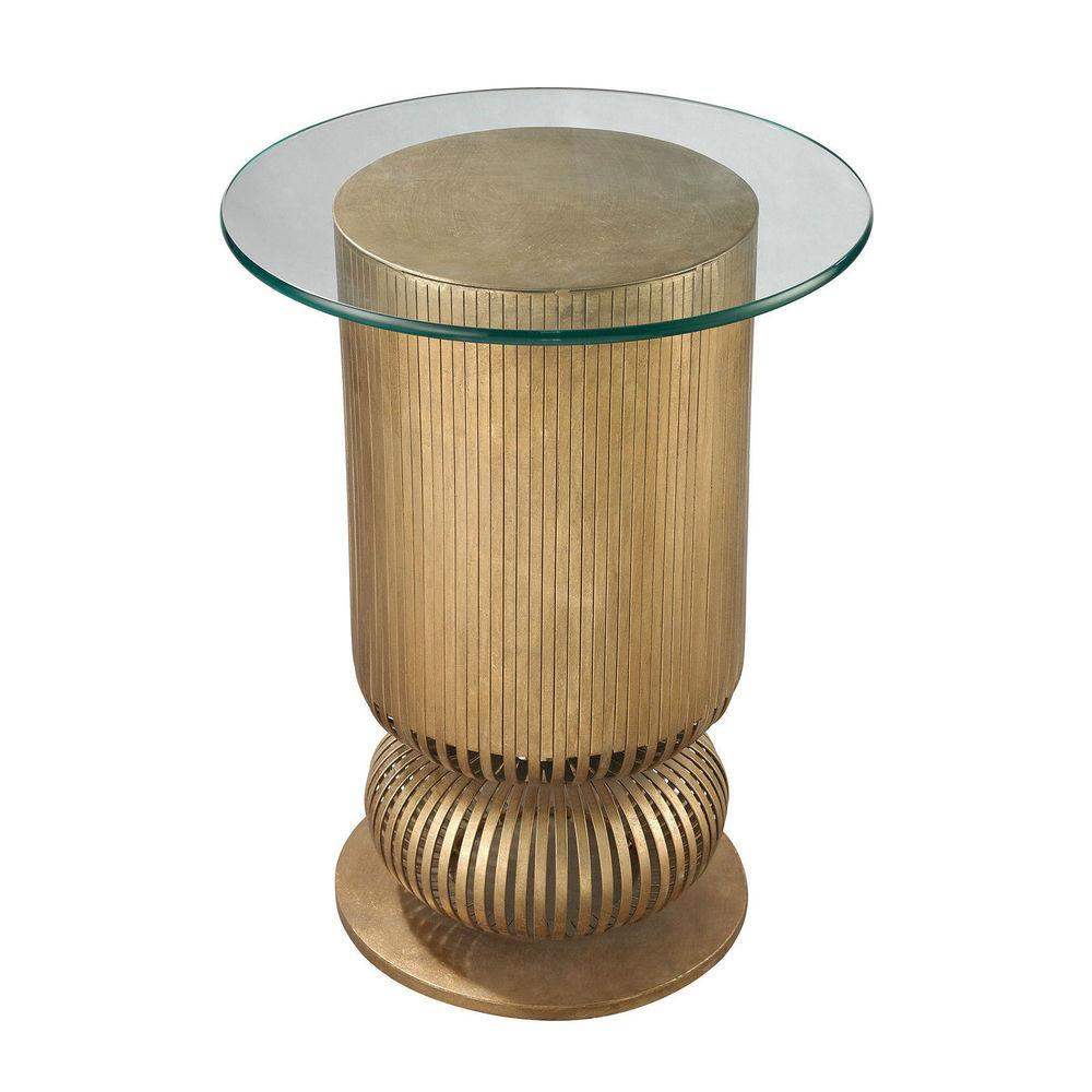Home Gold Leaf Sock Bun Side Table Lounge Accent